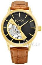 So & Co New York 5412.3 Madison Musta/Nahka Ø40 mm 5412.3