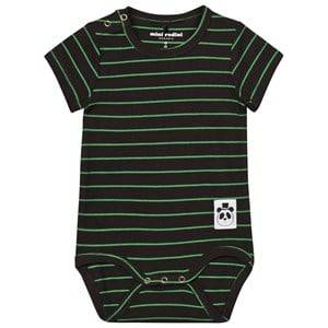 Mini Rodini Unisex All in ones Black Stripe Rib Baby Body Black