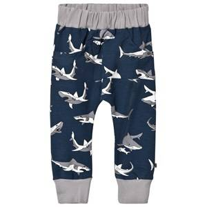 Småfolk Boys Bottoms Blue Blue Shark Print Sweatpants