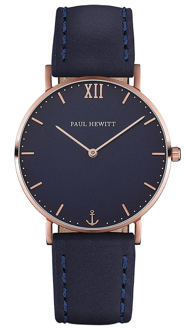 Paul Hewitt Sailor Line Gold 39mm Blue Leather Navy Blue