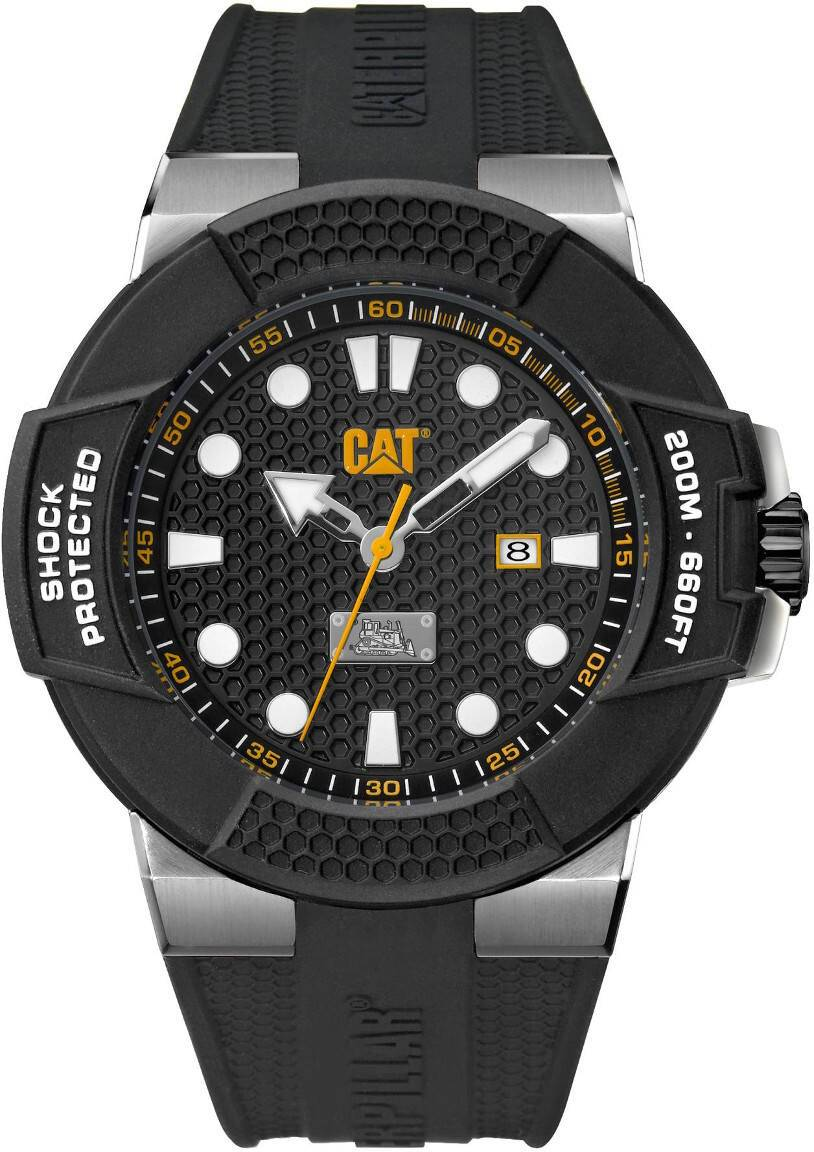 Caterpillar CAT Shockmaster Steel Black dial silicone SF.141.21.111