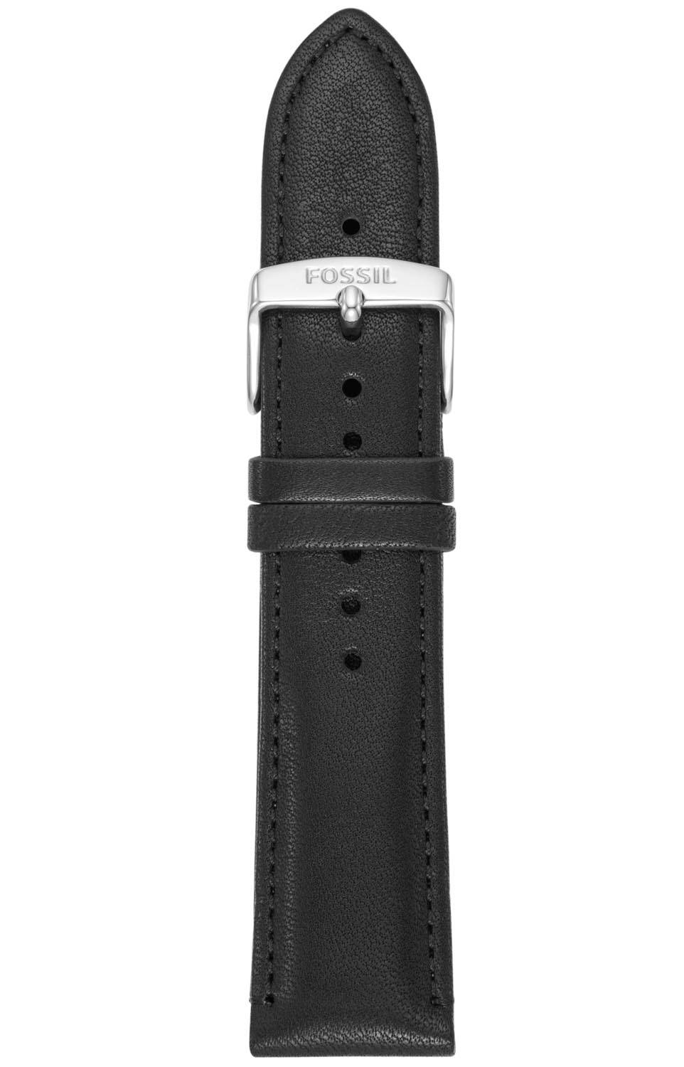 Fossil 22mm Black Leather Strap S221347